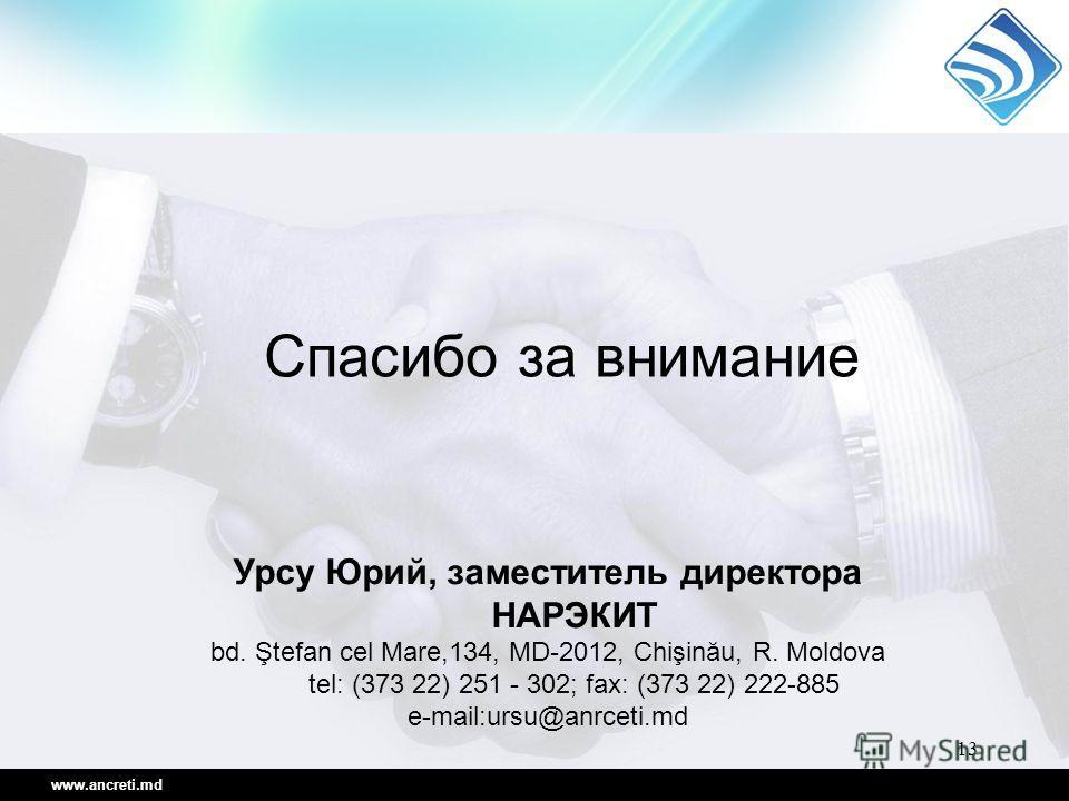 13 www.ancreti.md Урсу Юрий, заместитель директора НАРЭКИТ bd. Ştefan cel Mare,134, MD-2012, Chişinău, R. Moldova tel: (373 22) 251 - 302; fax: (373 22) 222-885 e-mail:ursu@anrceti.md Спасибо за внимание
