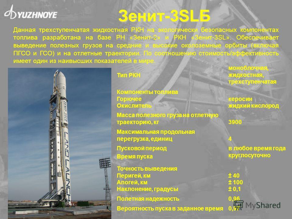 Зенит-3SLБ Данная трехступенчатая жидкостная РКН на экологически безопасных компонентах топлива разработана на базе РН «Зенит-2» и РКН «Зенит-3SL». Обеспечивает выведение полезных грузов на средние и высокие околоземные орбиты (включая ПГСО и ГСО) и