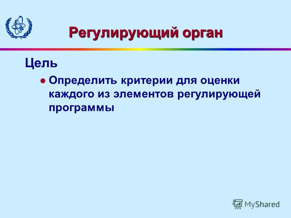 Регулирующий орган Цель Определить критерии для оценки каждого из элементов регулирующей программы