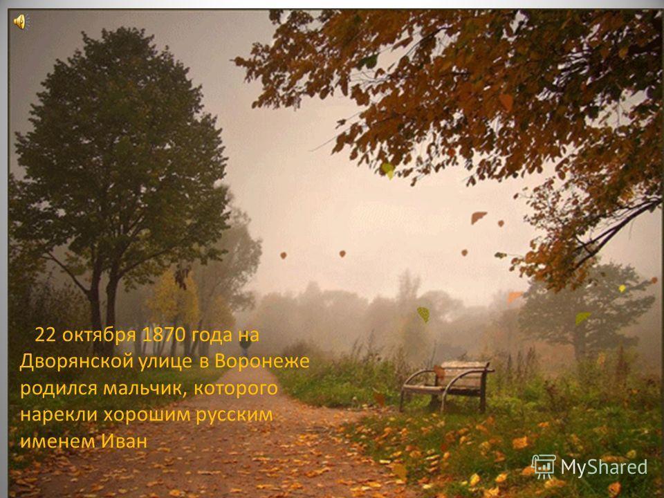 22 октября 1870 года на Дворянской улице в Воронеже родился мальчик, которого нарекли хорошим русским именем Иван