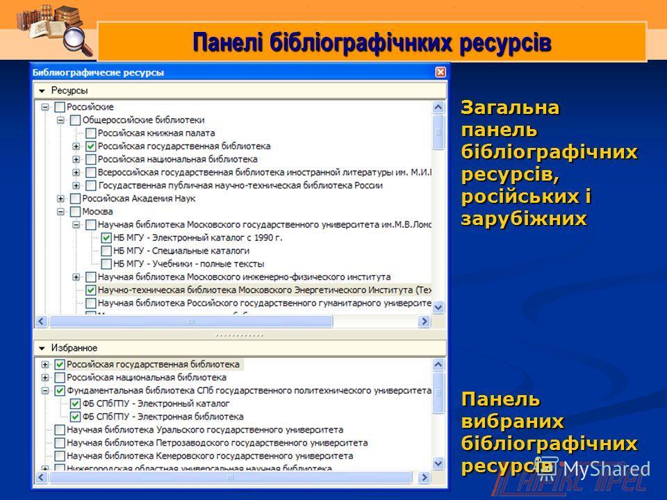 Панелі бібліографічнких ресурсів Загальна панель бібліографічних ресурсів, російських і зарубіжних Панель вибраних бібліографічних ресурсів