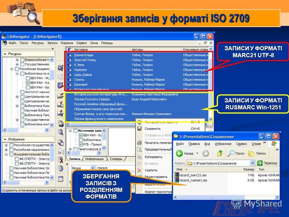 Зберігання записів у форматі ISO 2709 ЗАПИСИ У ФОРМАТІ MARC21 UTF-8 ЗАПИСИ У ФОРМАТІ RUSMARC Win-1251 ЗБЕРІГАННЯ ЗАПИСІВ З РОЗДІЛЕННЯМ ФОРМАТІВ