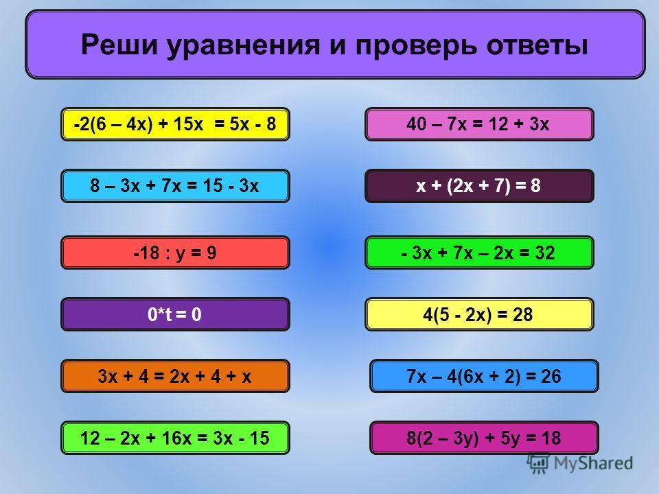 Реши уравнения и проверь ответы -2(6 – 4х) + 15х = 5х - 8 8 – 3х + 7х = 15 - 3х 12 – 2х + 16х = 3х - 158(2 – 3у) + 5у = 18 7х – 4(6х + 2) = 26 - 3х + 7х – 2х = 32 х + (2х + 7) = 8 4(5 - 2х) = 28 40 – 7х = 12 + 3х -18 : у = 9 0*t = 0 3х + 4 = 2х + 4 +