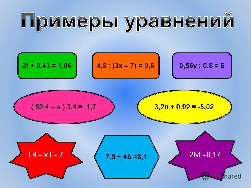 2t + 0,43 = 1,06 4,8 : (3х – 7) = 9,6 0,56у : 0,8 = 6 ( 52,4 – а ) 3,4 = 1,73,2n + 0,92 = -5,02 7,9 + 4b =8,1 I 4 – x I = 7 2IyI =0,17