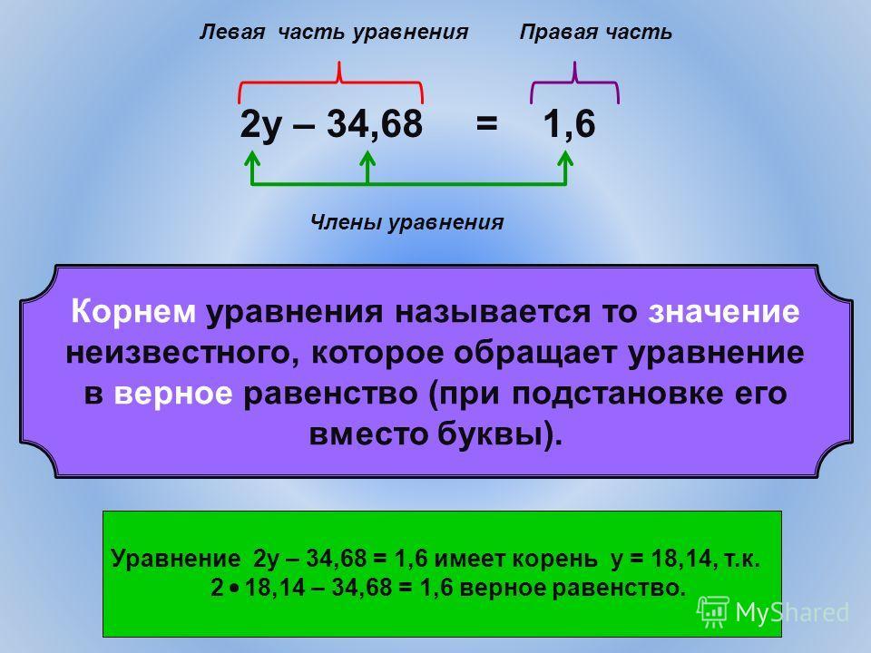 2у – 34,68 = 1,6 Левая часть уравненияПравая часть Члены уравнения Корнем уравнения называется то значение неизвестного, которое обращает уравнение в верное равенство (при подстановке его вместо буквы). Уравнение 2у – 34,68 = 1,6 имеет корень у = 18,