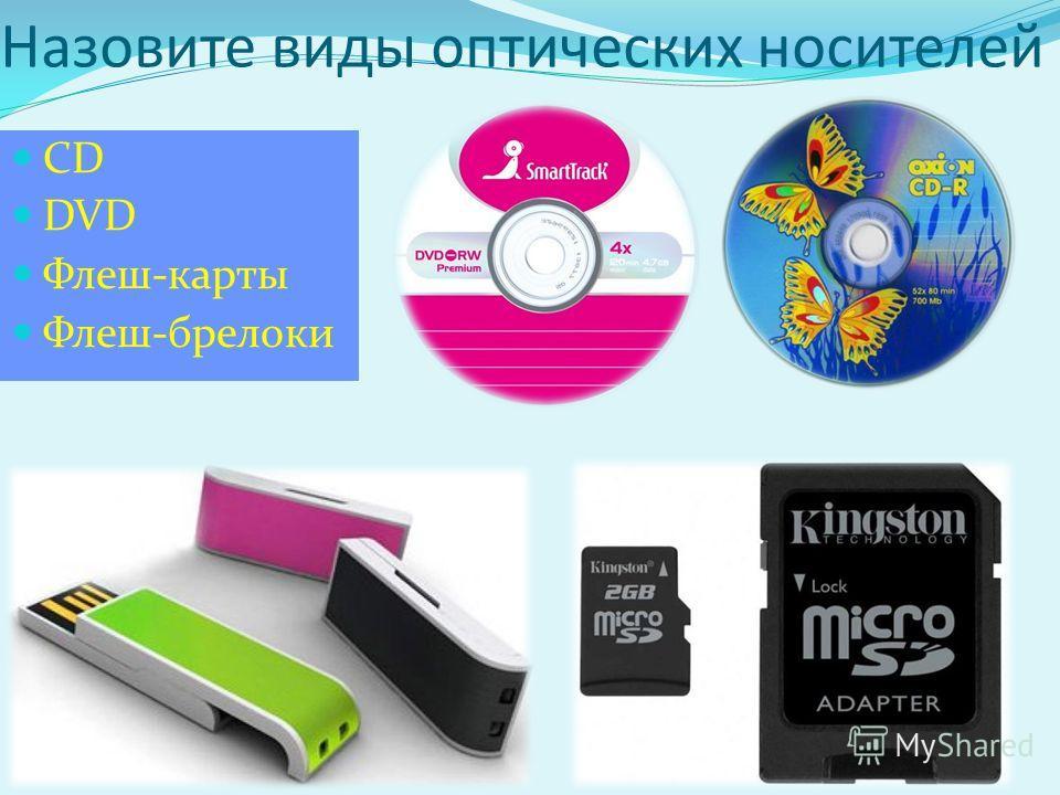 CD DVD Флеш-карты Флеш-брелоки Назовите виды оптических носителей