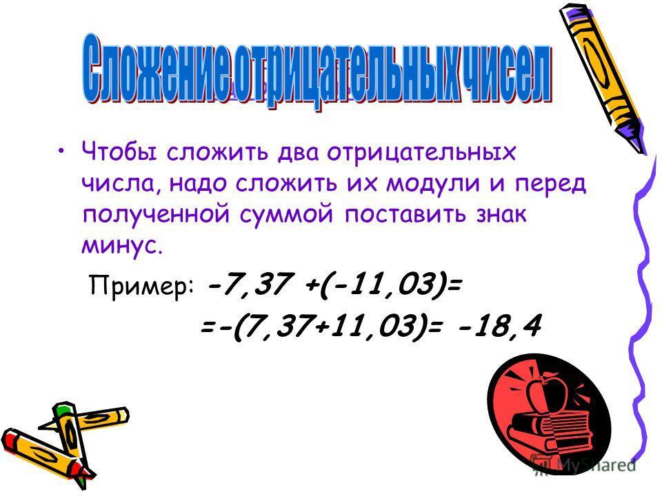 Сложение рациональных чисел Чтобы сложить два отрицательных числа, надо сложить их модули и перед полученной суммой поставить знак минус. Пример: -7,37 +(-11,03)= =-(7,37+11,03)= -18,4
