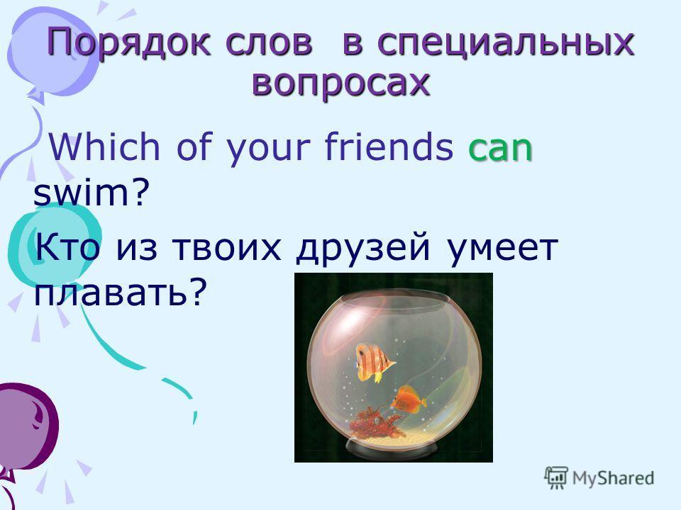 Порядок слов в специальных вопросах can Which of your friends can swim? Кто из твоих друзей умеет плавать?