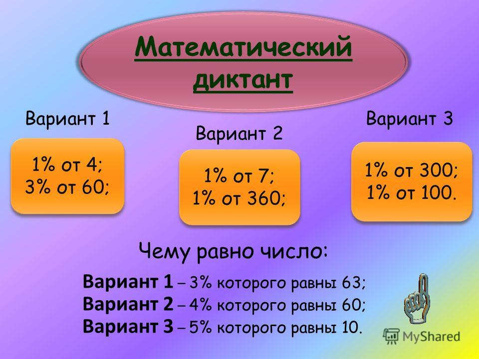 Вариант 1 Вариант 2 Вариант 3 Чему равно число: Вариант 1 – 3% которого равны 63; Вариант 2 – 4% которого равны 60; Вариант 3 – 5% которого равны 10. 1% от 4; 3% от 60; 1% от 4; 3% от 60; 1% от 7; 1% от 360; 1% от 7; 1% от 360; 1% от 300; 1% от 100.