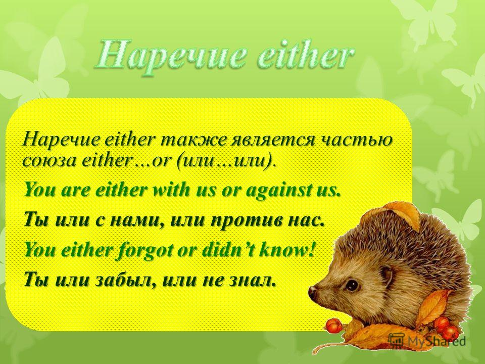 Наречие either также является частью союза either…or (или…или). You are either with us or against us. Ты или с нами, или против нас. You either forgot or didnt know! Ты или забыл, или не знал.