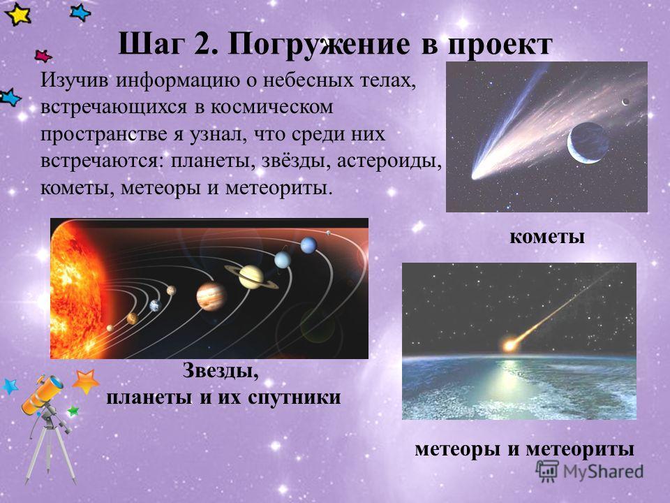 Шаг 2. Погружение в проект Изучив информацию о небесных телах, встречающихся в космическом пространстве я узнал, что среди них встречаются: планеты, звёзды, астероиды, кометы, метеоры и метеориты. Звезды, планеты и их спутники кометы метеоры и метеор