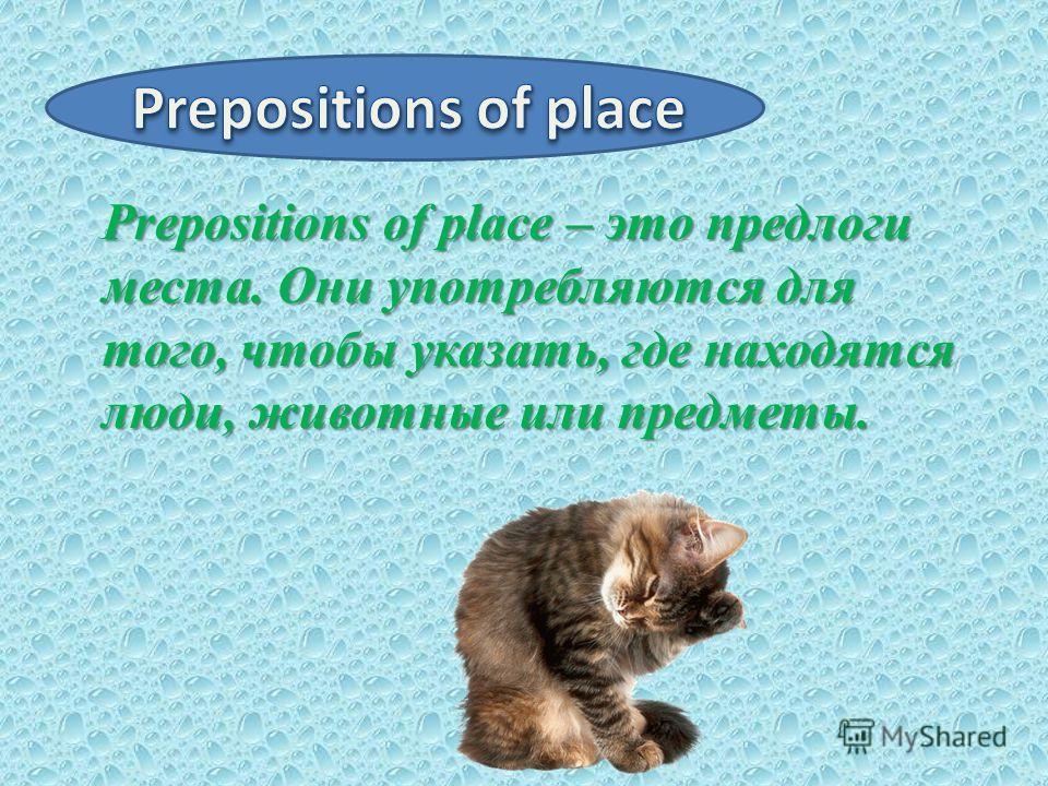 Prepositions of place – это предлоги места. Они употребляются для того, чтобы указать, где находятся люди, животные или предметы. Prepositions of place – это предлоги места. Они употребляются для того, чтобы указать, где находятся люди, животные или