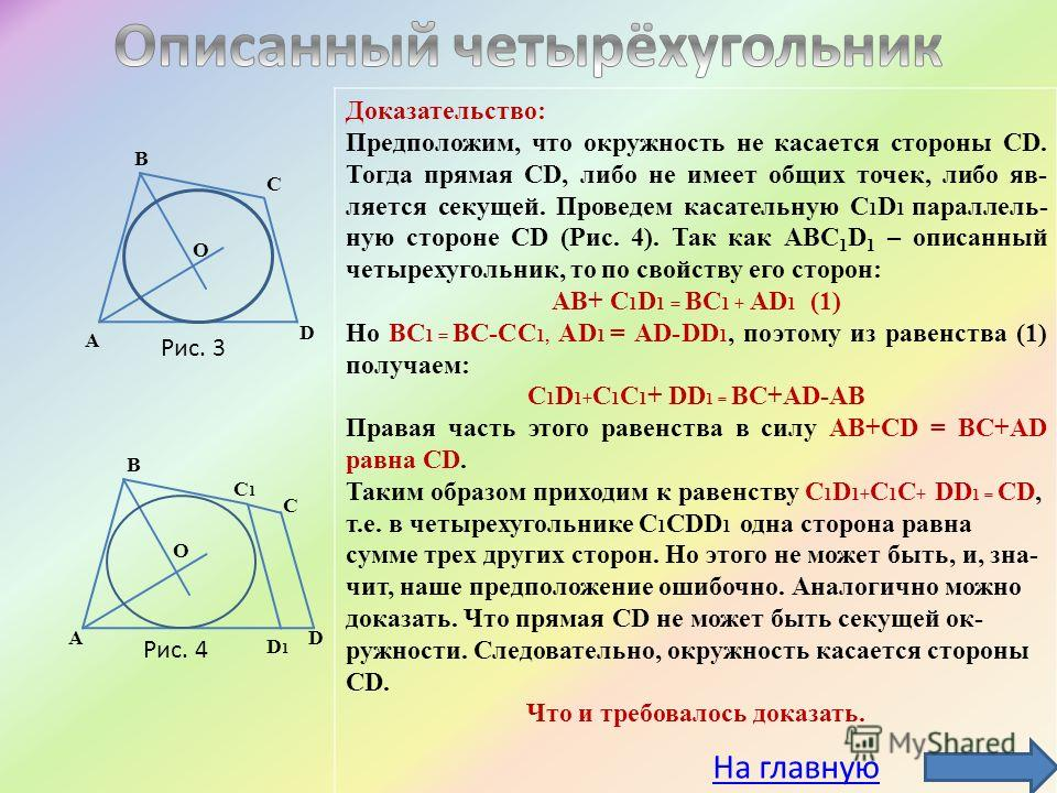 О А В С D C1C1 D1D1 D О А В С Рис. 3 Рис. 4 Доказательство: Предположим, что окружность не касается стороны CD. Тогда прямая СD, либо не имеет общих точек, либо яв- ляется секущей. Проведем касательную С 1 D 1 параллель- ную стороне CD (Рис. 4). Так