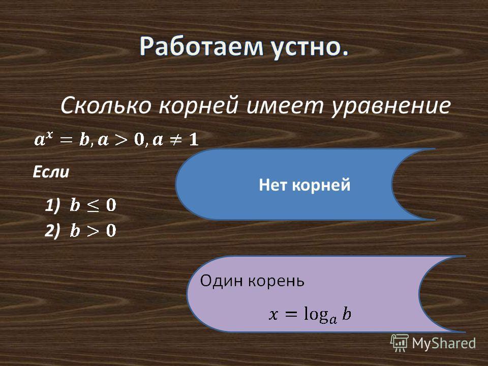 Сколько корней имеет уравнение Нет корней