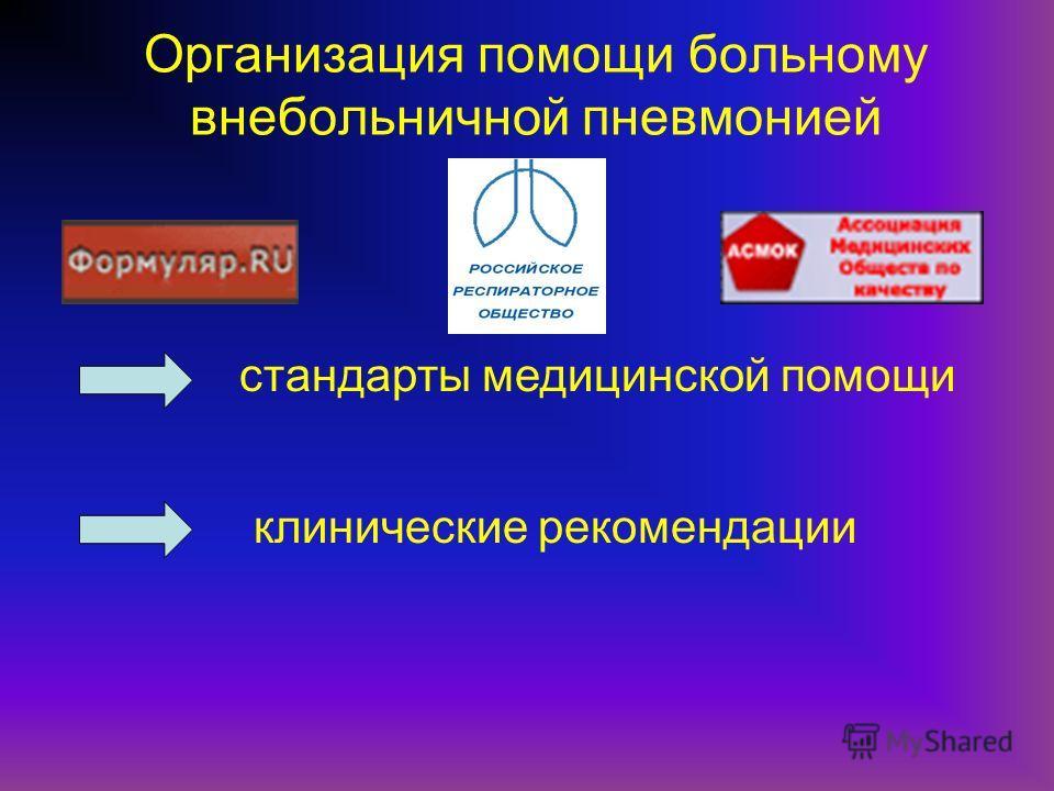 Организация помощи больному внебольничной пневмонией стандарты медицинской помощи клинические рекомендации