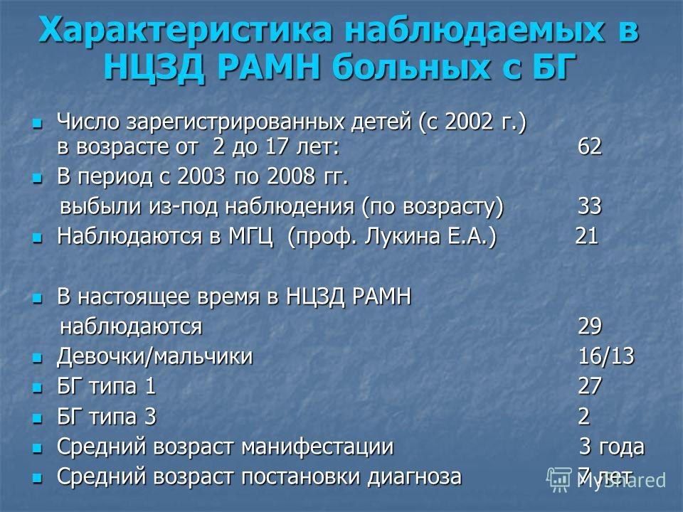 Характеристика наблюдаемых в НЦЗД РАМН больных с БГ Число зарегистрированных детей (с 2002 г.) в возрасте от 2 до 17 лет:62 Число зарегистрированных детей (с 2002 г.) в возрасте от 2 до 17 лет:62 В период с 2003 по 2008 гг. В период с 2003 по 2008 гг