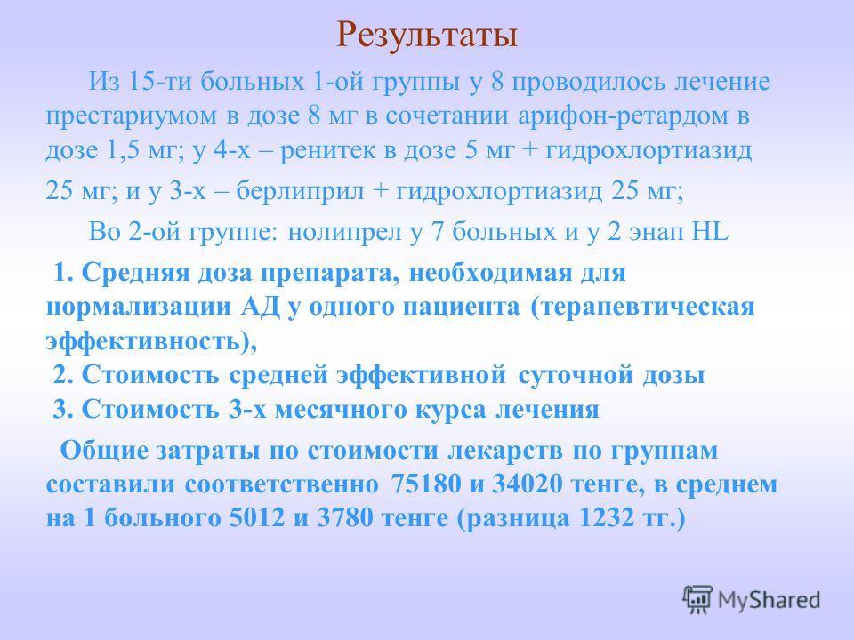Результаты Из 15-ти больных 1-ой группы у 8 проводилось лечение престариумом в дозе 8 мг в сочетании арифон-ретардом в дозе 1,5 мг; у 4-х – ренитек в дозе 5 мг + гидрохлортиазид 25 мг; и у 3-х – берлиприл + гидрохлортиазид 25 мг; Во 2-ой группе: ноли