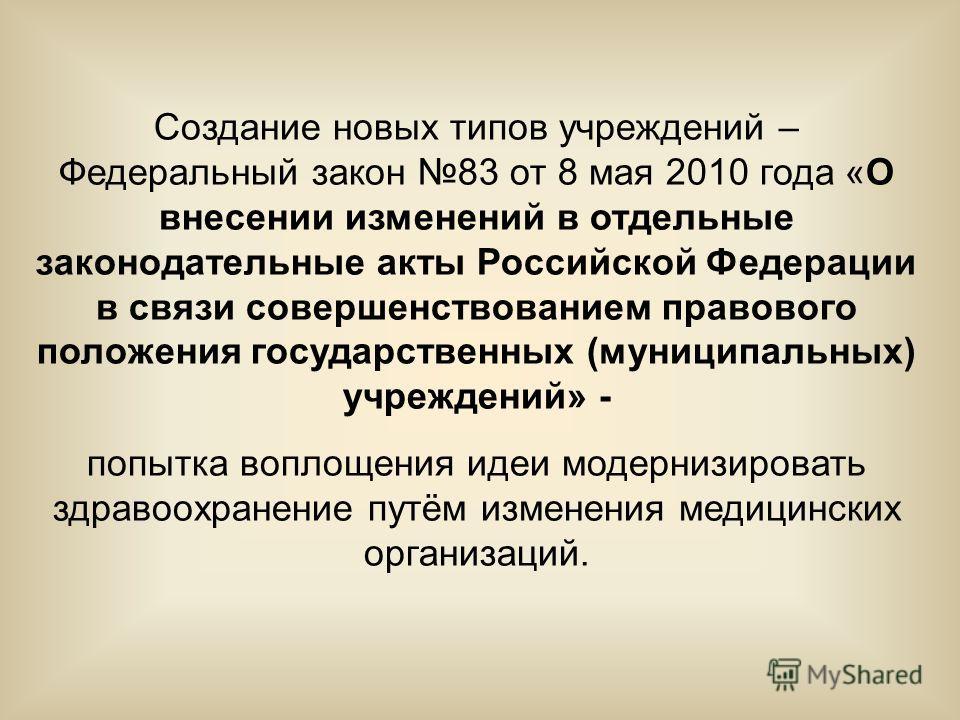 Создание новых типов учреждений – Федеральный закон 83 от 8 мая 2010 года «О внесении изменений в отдельные законодательные акты Российской Федерации в связи совершенствованием правового положения государственных (муниципальных) учреждений» - попытка