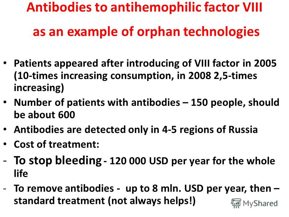 Antibodies to antihemophilic factor VIII as an example of orphan technologies Patients appeared after introducing of VIII factor in 2005 (10-times increasing consumption, in 2008 2,5-times increasing) Number of patients with antibodies – 150 people,
