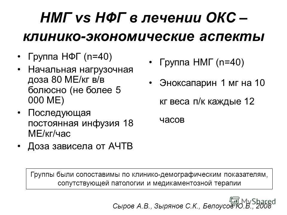 НМГ vs НФГ в лечении ОКС – клинико-экономические аспекты Группа НФГ (n=40) Начальная нагрузочная доза 80 МЕ/кг в/в болюсно (не более 5 000 МЕ) Последующая постоянная инфузия 18 МЕ/кг/час Доза зависела от АЧТВ Группа НМГ (n=40) Эноксапарин 1 мг на 10