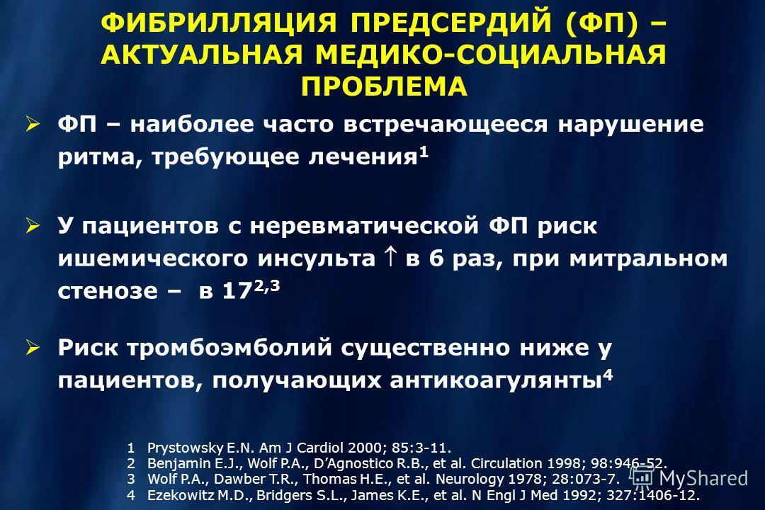 ФП – наиболее часто встречающееся нарушение ритма, требующее лечения 1 1Prystowsky E.N. Am J Cardiol 2000; 85:3-11. 2Benjamin E.J., Wolf P.A., DAgnostico R.B., et al. Circulation 1998; 98:946-52. 3Wolf P.A., Dawber T.R., Thomas H.E., et al. Neurology
