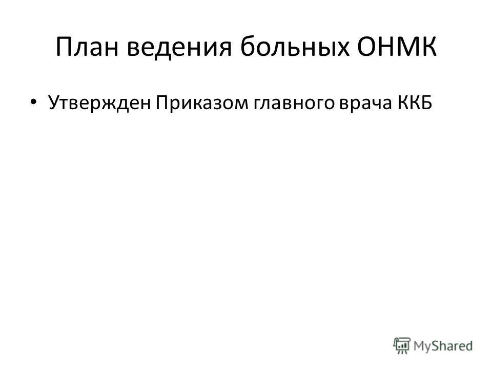 План ведения больных ОНМК Утвержден Приказом главного врача ККБ