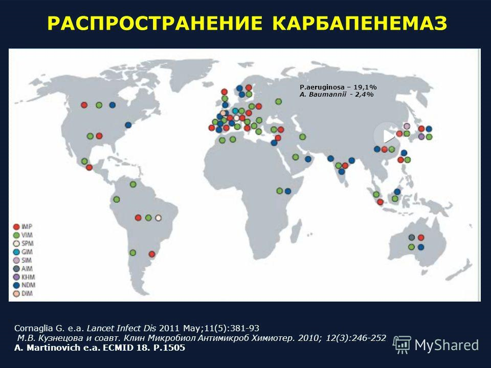 Cornaglia G. e.a. Lancet Infect Dis 2011 May;11(5):381-93 М.В. Кузнецова и соавт. Клин Микробиол Антимикроб Химиотер. 2010; 12(3):246-252 A. Martinovich e.a. ECMID 18. P.1505 РАСПРОСТРАНЕНИЕ КАРБАПЕНЕМАЗ P.aeruginosa – 19,1% A. Baumannii - 2,4%
