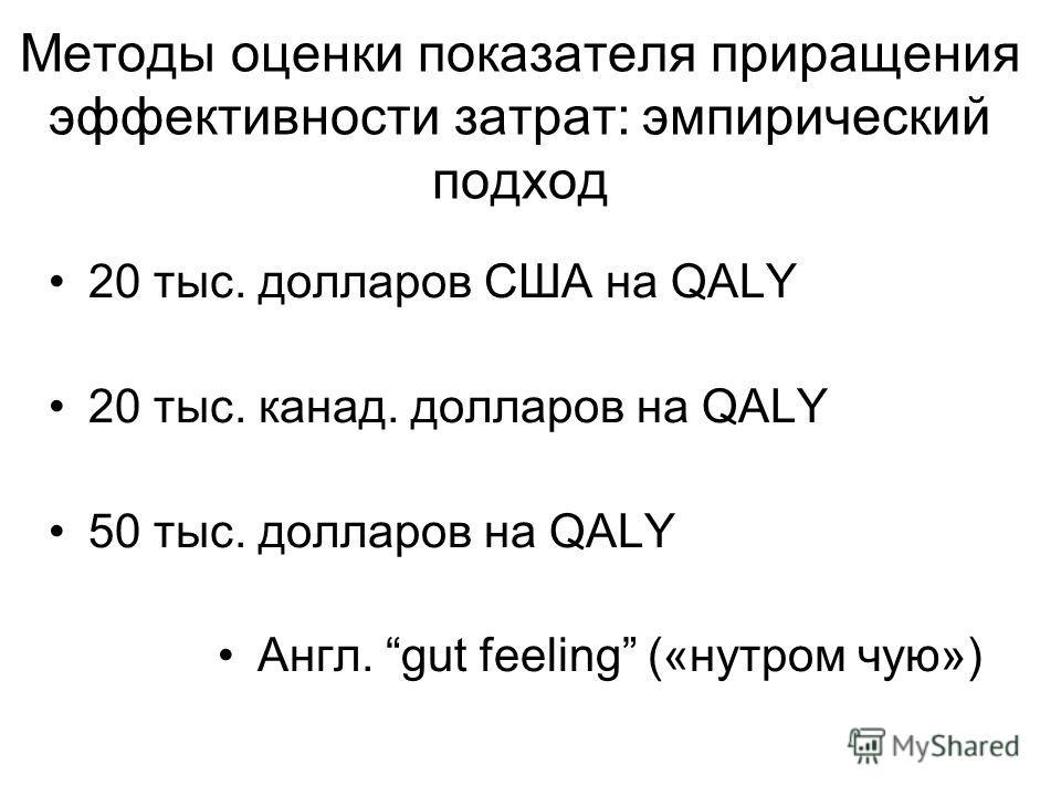 Методы оценки показателя приращения эффективности затрат: эмпирический подход 20 тыс. долларов США на QALY 20 тыс. канад. долларов на QALY 50 тыс. долларов на QALY Англ. gut feeling («нутром чую»)