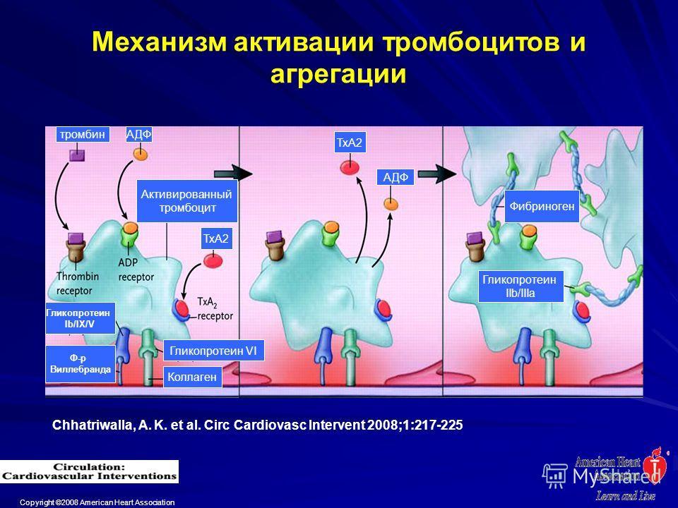 Copyright ©2008 American Heart Association Chhatriwalla, A. K. et al. Circ Cardiovasc Intervent 2008;1:217-225 Механизм активации тромбоцитов и агрегации тромбинАДФ Активированный тромбоцит АДФ Фибриноген Гликопротеин IIb/IIIa Коллаген Гликопротеин V