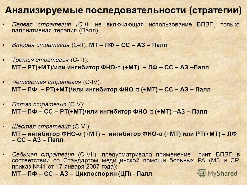 Анализируемые последовательности (стратегии) Первая стратегия (С-I), не включающая использование БПВП, только паллиативная терапия (Палл). Вторая стратегия (C-II): МТ – ЛФ – CC – АЗ – Палл Третья стратегия (C-III): МТ – РТ(+MT)/или ингибитор ФНО-α (+