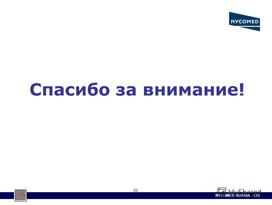 NYCOMED RUSSIA - CIS 30 Спасибо за внимание!