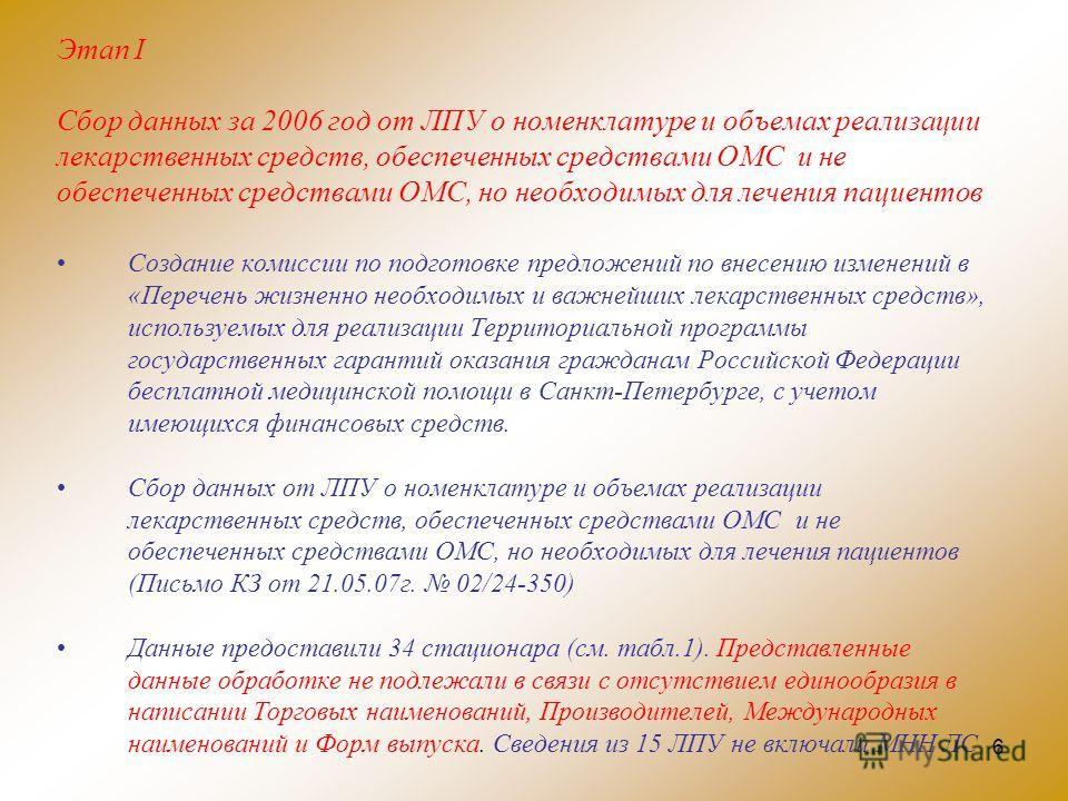 6 Этап I Сбор данных за 2006 год от ЛПУ о номенклатуре и объемах реализации лекарственных средств, обеспеченных средствами ОМС и не обеспеченных средствами ОМС, но необходимых для лечения пациентов Создание комиссии по подготовке предложений по внесе