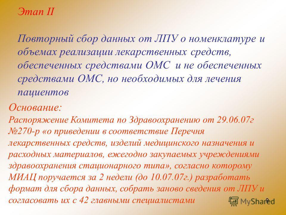 9 Этап II Повторный сбор данных от ЛПУ о номенклатуре и объемах реализации лекарственных средств, обеспеченных средствами ОМС и не обеспеченных средствами ОМС, но необходимых для лечения пациентов Основание: Распоряжение Комитета по Здравоохранению о