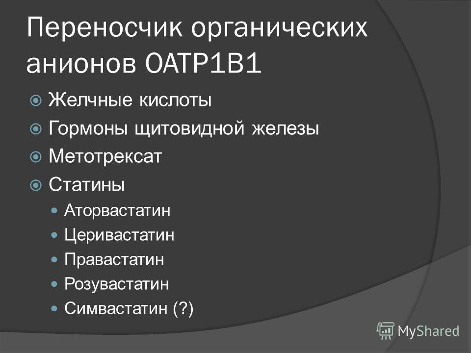 Переносчик органических анионов OATP1B1 Желчные кислоты Гормоны щитовидной железы Метотрексат Статины Аторвастатин Церивастатин Правастатин Розувастатин Симвастатин (?)