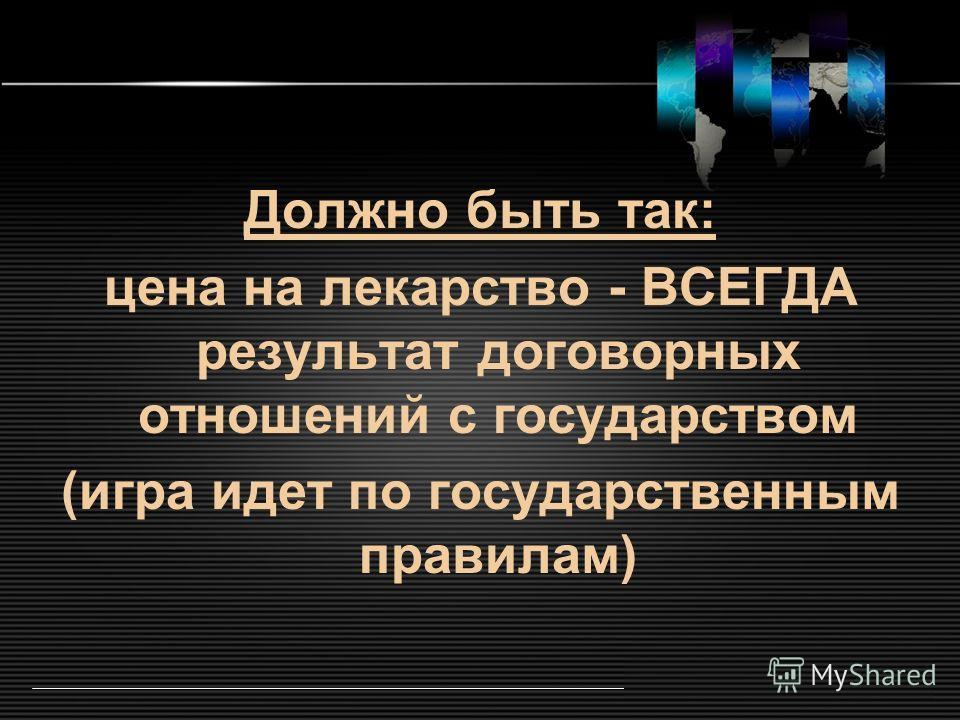 LOGO www.themegallery.com Должно быть так: цена на лекарство - ВСЕГДА результат договорных отношений с государством (игра идет по государственным правилам)