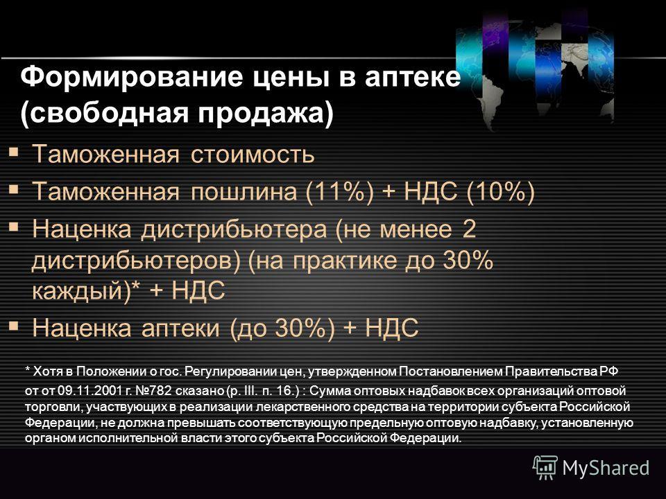 LOGO www.themegallery.com Формирование цены в аптеке (свободная продажа) Таможенная стоимость Таможенная пошлина (11%) + НДС (10%) Наценка дистрибьютера (не менее 2 дистрибьютеров) (на практике до 30% каждый)* + НДС Наценка аптеки (до 30%) + НДС * Хо