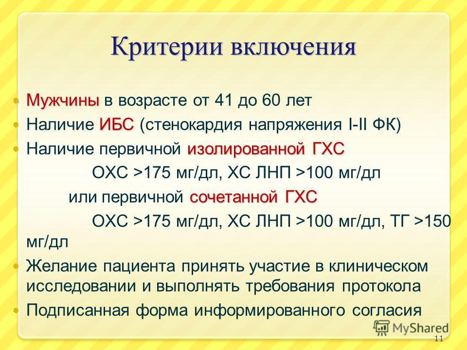 Критерии включения Мужчины Мужчины в возрасте от 41 до 60 лет ИБС Наличие ИБС (стенокардия напряжения I-II ФК) изолированной ГХС Наличие первичной изолированной ГХС ОХС >175 мг/дл, ХС ЛНП >100 мг/дл сочетанной ГХС или первичной сочетанной ГХС ОХС >17