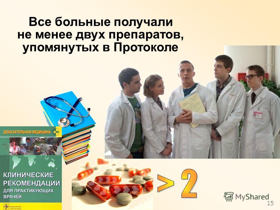 15 Все больные получали не менее двух препаратов, упомянутых в Протоколе