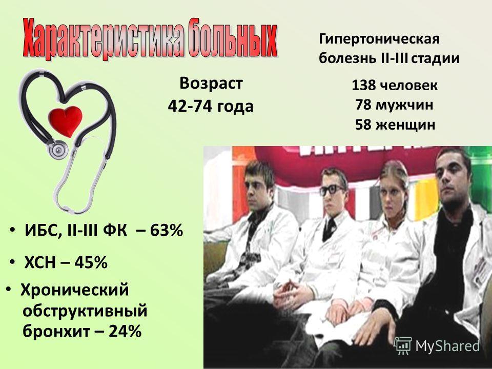 7 ИБС, ІІ-ІІІ ФК – 63% ХСН – 45% Хронический обструктивный бронхит – 24% Гипертоническая болезнь ІІ-ІІІ стадии 138 человек 78 мужчин 58 женщин Возраст 42-74 года