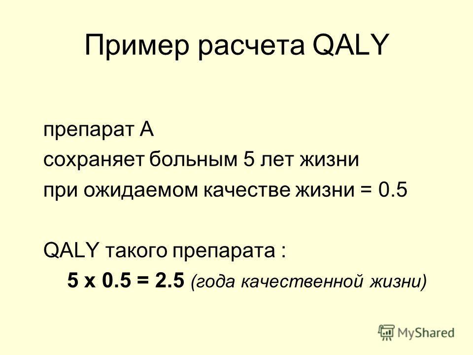 Пример расчета QALY препарат А сохраняет больным 5 лет жизни при ожидаемом качестве жизни = 0.5 QALY такого препарата : 5 х 0.5 = 2.5 (года качественной жизни)