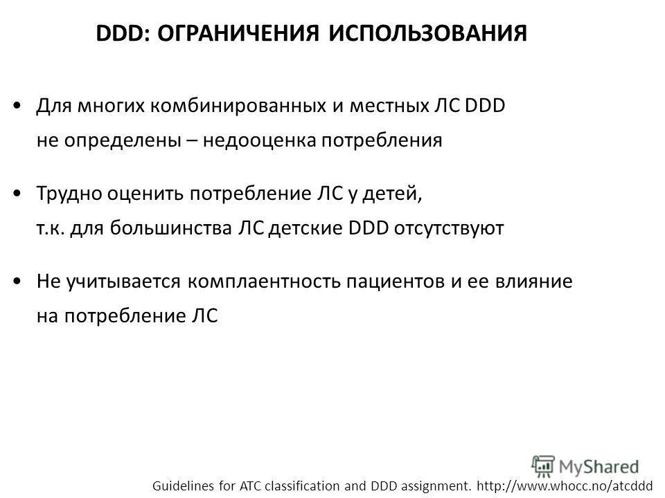 DDD: ОГРАНИЧЕНИЯ ИСПОЛЬЗОВАНИЯ Для многих комбинированных и местных ЛС DDD не определены – недооценка потребления Трудно оценить потребление ЛС у детей, т.к. для большинства ЛС детские DDD отсутствуют Не учитывается комплаентность пациентов и ее влия
