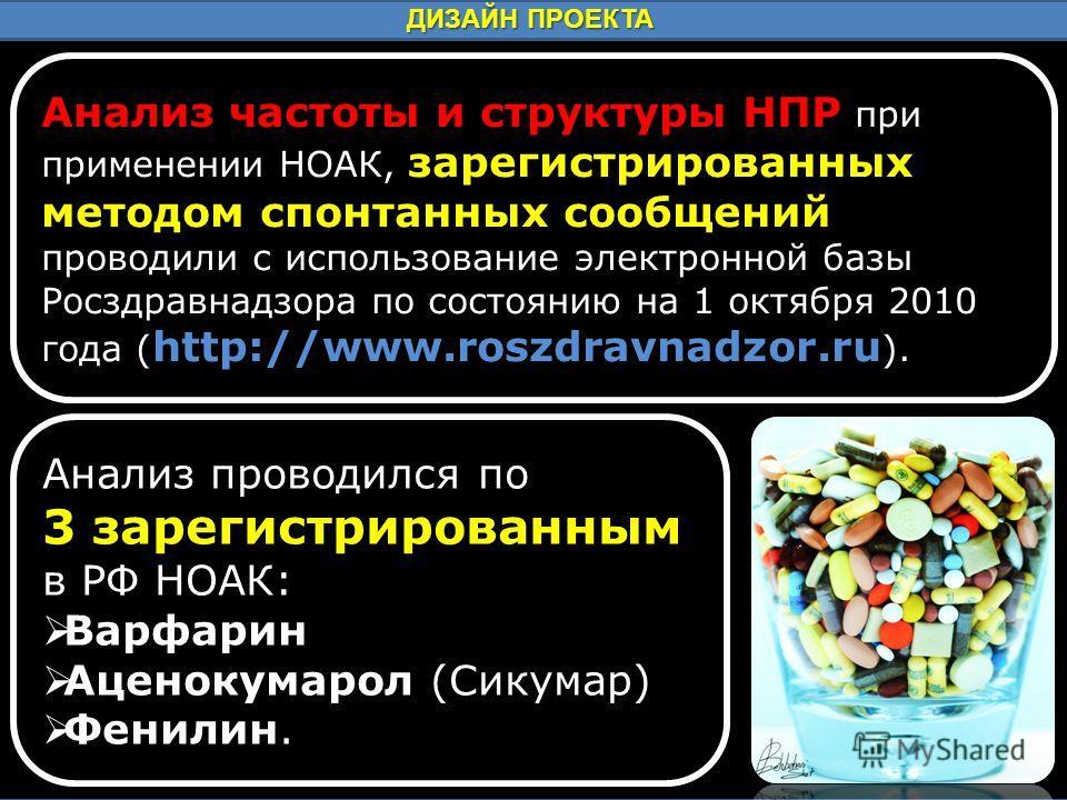 ДИЗАЙН ПРОЕКТА Анализ частоты и структуры НПР при применении НОАК, зарегистрированных методом спонтанных сообщений проводили с использование электронной базы Росздравнадзора по состоянию на 1 октября 2010 года ( http://www.roszdravnadzor.ru ). Анализ