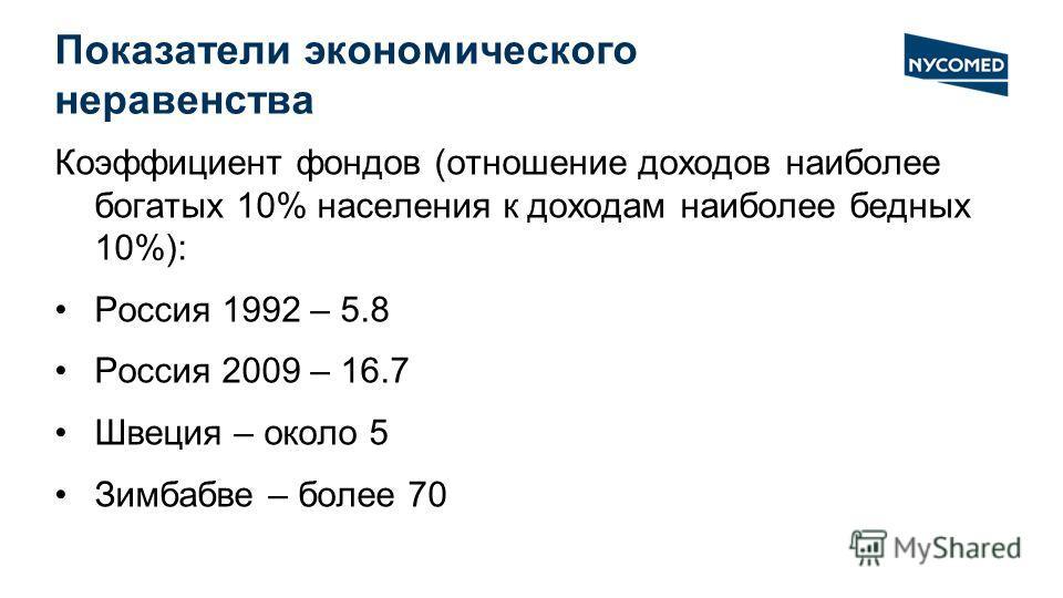 Показатели экономического неравенства Коэффициент фондов (отношение доходов наиболее богатых 10% населения к доходам наиболее бедных 10%): Россия 1992 – 5.8 Россия 2009 – 16.7 Швеция – около 5 Зимбабве – более 70