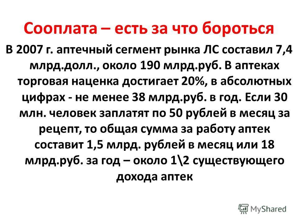Сооплата – есть за что бороться В 2007 г. аптечный сегмент рынка ЛС составил 7,4 млрд.долл., около 190 млрд.руб. В аптеках торговая наценка достигает 20%, в абсолютных цифрах - не менее 38 млрд.руб. в год. Если 30 млн. человек заплатят по 50 рублей в