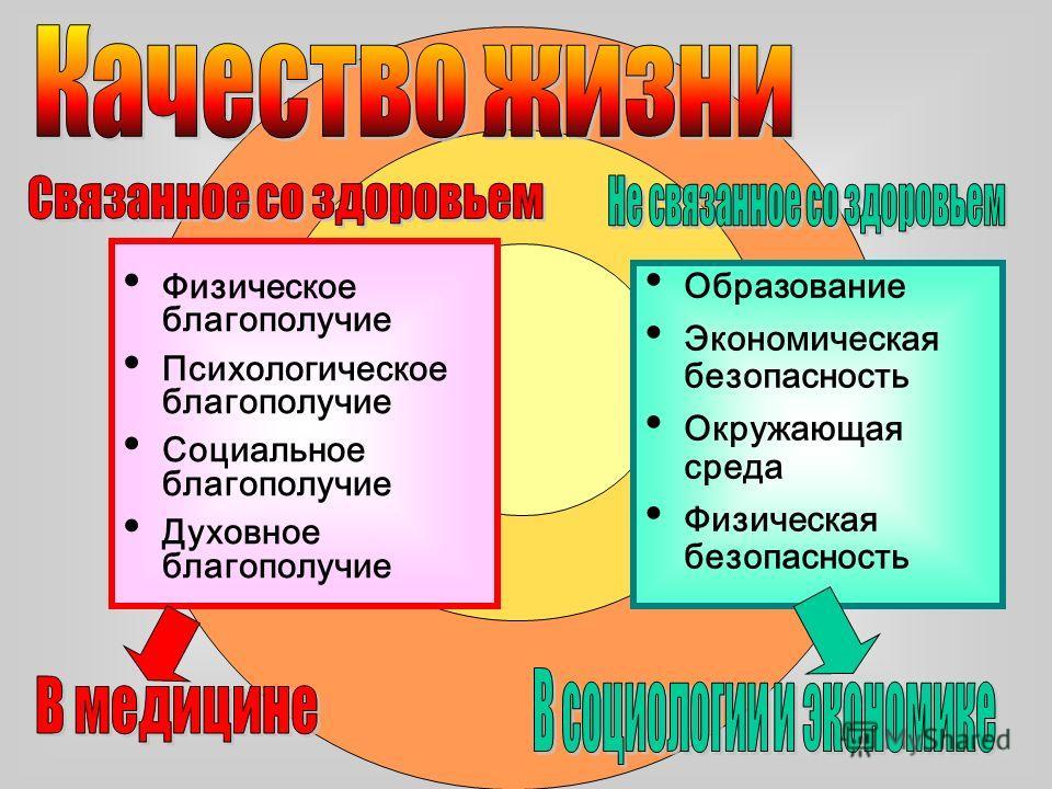 Физическое благополучие Психологическое благополучие Социальное благополучие Духовное благополучие Образование Экономическая безопасность Окружающая среда Физическая безопасность