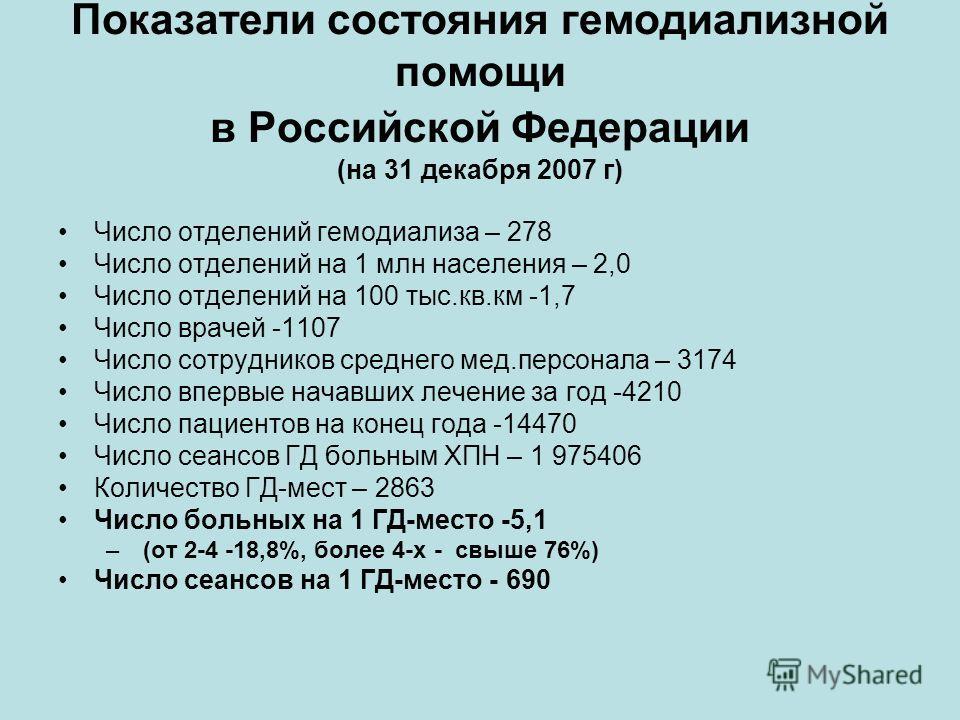Показатели состояния гемодиализной помощи в Российской Федерации (на 31 декабря 2007 г) Число отделений гемодиализа – 278 Число отделений на 1 млн населения – 2,0 Число отделений на 100 тыс.кв.км -1,7 Число врачей -1107 Число сотрудников среднего мед