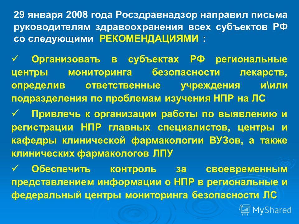 29 января 2008 года Росздравнадзор направил письма руководителям здравоохранения всех субъектов РФ со следующими РЕКОМЕНДАЦИЯМИ : Организовать в субъектах РФ региональные центры мониторинга безопасности лекарств, определив ответственные учреждения и\