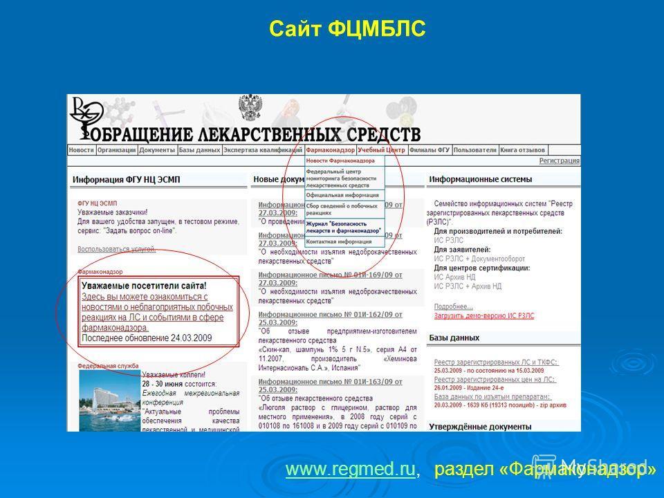 Cайт ФЦМБЛС www.regmed.ruwww.regmed.ru, раздел «Фармаконадзор»