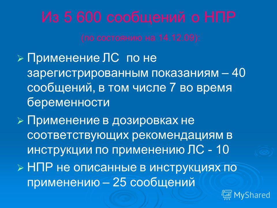 Из 5 600 сообщений о НПР (по состоянию на 14.12.09): Применение ЛС по не зарегистрированным показаниям – 40 сообщений, в том числе 7 во время беременности Применение в дозировках не соответствующих рекомендациям в инструкции по применению ЛС - 10 НПР