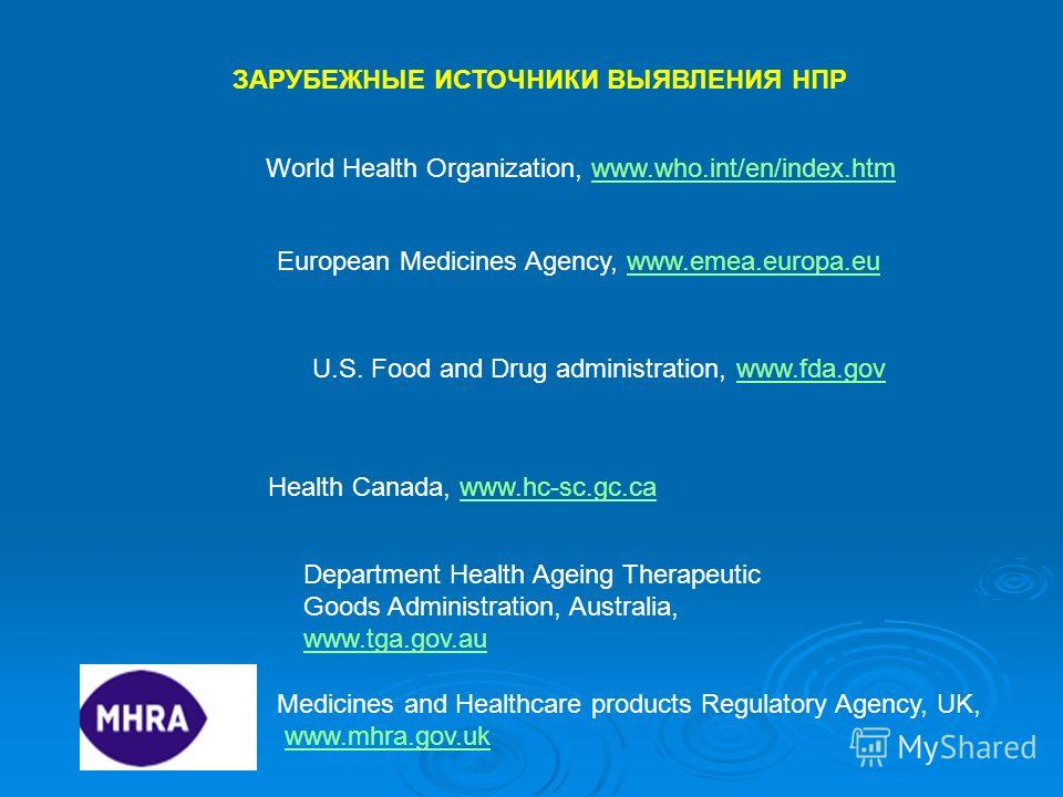 ЗАРУБЕЖНЫЕ ИСТОЧНИКИ ВЫЯВЛЕНИЯ НПР U.S. Food and Drug administration, www.fda.govwww.fda.gov European Medicines Agency, www.emea.europa.euwww.emea.europa.eu Health Canada, www.hc-sc.gc.cawww.hc-sc.gc.ca Department Health Ageing Therapeutic Goods Admi